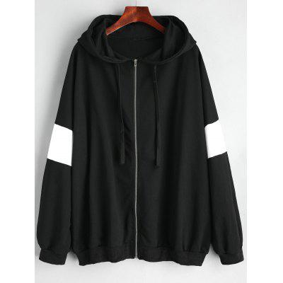 Plus Size Zip Up Monochrome Hoodie