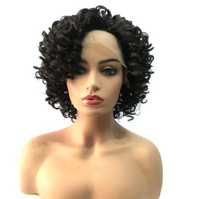 Perruque Synthétique Frisée Side Bang Shaggy Colormix Kinky Curly Lace Front