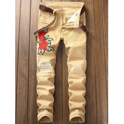 Skinny Floral Embroidery Distressed JeansMens Pants<br>Skinny Floral Embroidery Distressed Jeans<br><br>Closure Type: Zipper Fly<br>Fit Type: Skinny<br>Material: Cotton, Polyester, Spandex<br>Package Contents: 1 x Jeans<br>Pant Length: Long Pants<br>Pant Style: Pencil Pants<br>Waist Type: Mid<br>Wash: Destroy Wash<br>Weight: 0.6200kg<br>With Belt: No