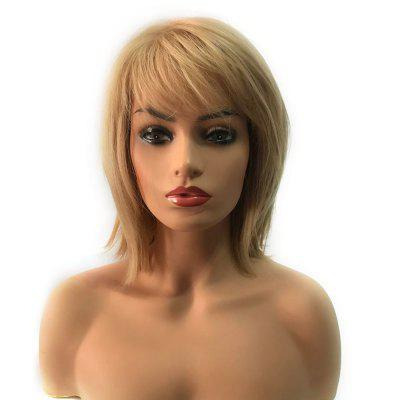 Short Side Bang Straight Heat Resistant Synthetic Capless Wig