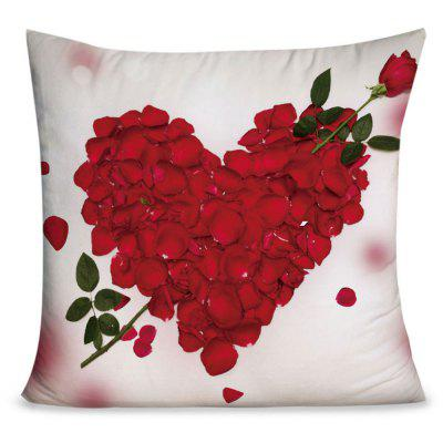 Valentine's Day Rose Petals Heart Pattern Throw Pillowcase