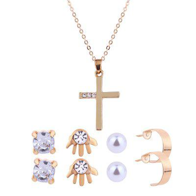 Faux Diamond Inlay Kreuz Halskette und Ohrstecker