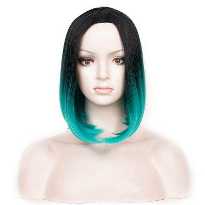 Center Parting Medium Ombre Straight Bob Synthetic Wig
