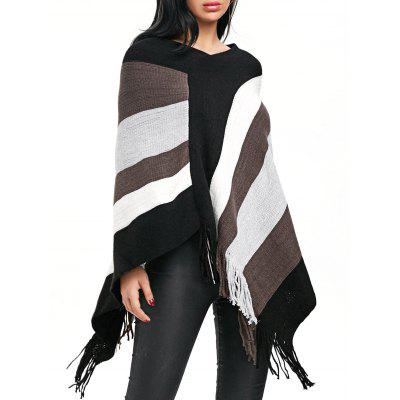 Fringe Color Block V Neck Poncho Sweater