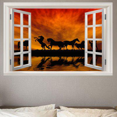 Horse In The Sunset Window View Removable Wall Sticker