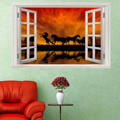 Horse In The Sunset Window View Removable Wall Sticker the afloat sunset dock wall sticker