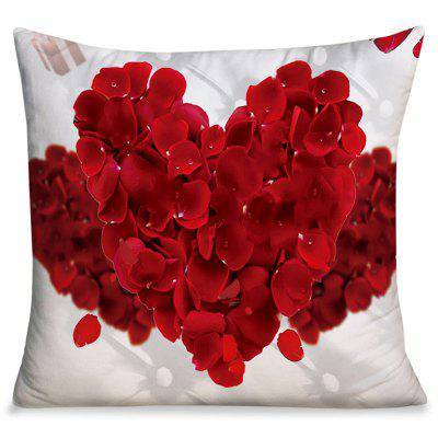 Valentine's Day Petals Heart Square Throw Pillowcase