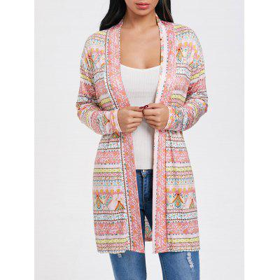 Buy MULTI L Open Front Printed Tunic Cardigan for $20.53 in GearBest store