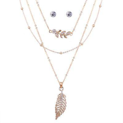 Rhinestoned Leaf Halskette und Ohrring-Set
