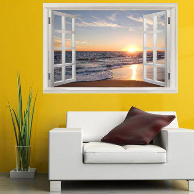 Seaside Sunset Window View Removable Wall Sticker the afloat sunset dock wall sticker