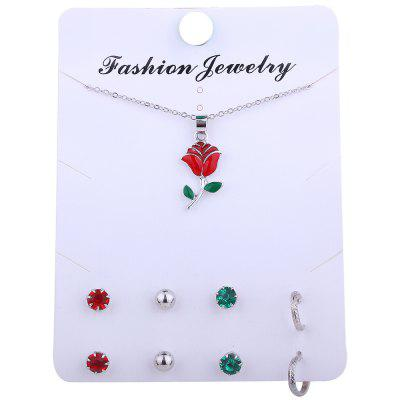 Rose Flower Necklace and Rhinestone Earring SetJewelry Sets<br>Rose Flower Necklace and Rhinestone Earring Set<br><br>Gender: For Women<br>Item Type: Pendant Necklace<br>Length: 50CM (Necklace)<br>Package Contents: 1 x Necklace 4 x Earrings (Pair)<br>Shape/Pattern: Floral<br>Style: Trendy<br>Weight: 0.0110kg