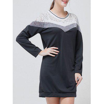 Long Sleeves Lace Panel Mini DressWomens Dresses<br>Long Sleeves Lace Panel Mini Dress<br><br>Dresses Length: Mini<br>Material: Polyester, Spandex<br>Neckline: Crew Neck<br>Occasion: Casual<br>Package Contents: 1 x Dress<br>Pattern Type: Others<br>Season: Fall, Spring<br>Silhouette: Shift<br>Sleeve Length: Long Sleeves<br>Style: Casual<br>Weight: 0.3000kg<br>With Belt: No