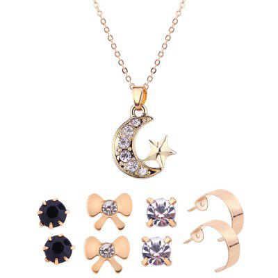 Rhinestone Star Moon Necklace and Earring Set