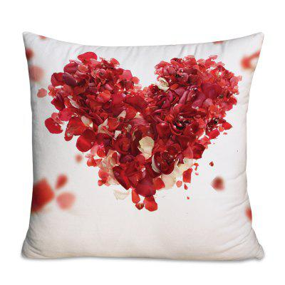 Valentine's Day Rose Petals Heart Square Throw Pillowcase