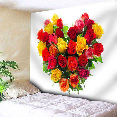 Valentine's Day Roses Heart Pattern Wall Hanging Tapestry
