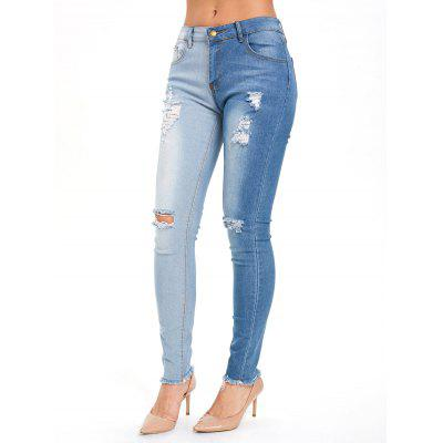 High Waisted Color Block Skinny Ripped Jeans