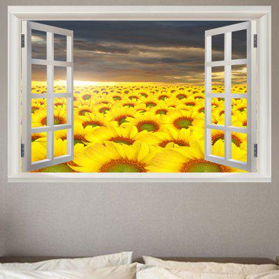 Window Sunflowers Pattern 3D Wall Sticker For Living Room