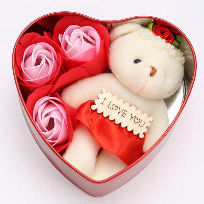 3Pcs Soap Roses and 1Pcs Bear in a Iron Box Valentine's Day Gift