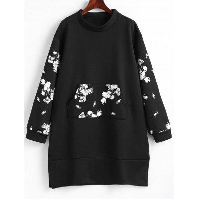 Robe Sweat-Shirt avec Poche Frontale Motif Floral Grande-Taille