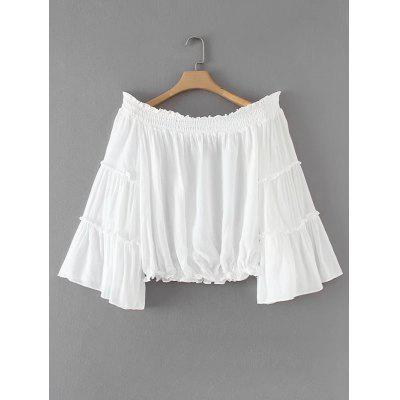 Off Shoulder Ruffles Smocked Panel Blouse