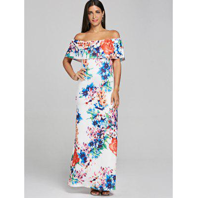 Off The Shoulder Ruffled Floral Print Maxi DressWomens Dresses<br>Off The Shoulder Ruffled Floral Print Maxi Dress<br><br>Dresses Length: Floor-Length<br>Material: Polyester, Spandex<br>Neckline: Off The Shoulder<br>Package Contents: 1 x Dress<br>Pattern Type: Floral<br>Season: Spring, Fall<br>Silhouette: A-Line<br>Sleeve Length: Short Sleeves<br>Style: Bohemian<br>Weight: 0.3700kg<br>With Belt: No