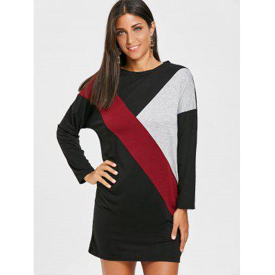 Drop Shoulder Color Block Mini T-shirt DressWomens Dresses<br>Drop Shoulder Color Block Mini T-shirt Dress<br><br>Dresses Length: Mini<br>Material: Polyester<br>Neckline: Round Collar<br>Occasion: Casual<br>Package Contents: 1 x Dress<br>Pattern Type: Patchwork<br>Season: Fall, Spring<br>Silhouette: Shift<br>Sleeve Length: Long Sleeves<br>Style: Casual<br>Weight: 0.3000kg<br>With Belt: No