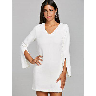 Split Sleeve Mini Shift DressWomens Dresses<br>Split Sleeve Mini Shift Dress<br><br>Dresses Length: Mini<br>Material: Polyester, Spandex<br>Neckline: V-Neck<br>Package Contents: 1 x Dress<br>Pattern Type: Solid<br>Season: Spring, Fall<br>Silhouette: Shift<br>Sleeve Length: Long Sleeves<br>Style: Brief<br>Weight: 0.5700kg<br>With Belt: No