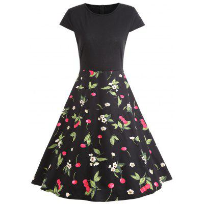 Floral Cherry Cap Sleeve Cocktail Dress
