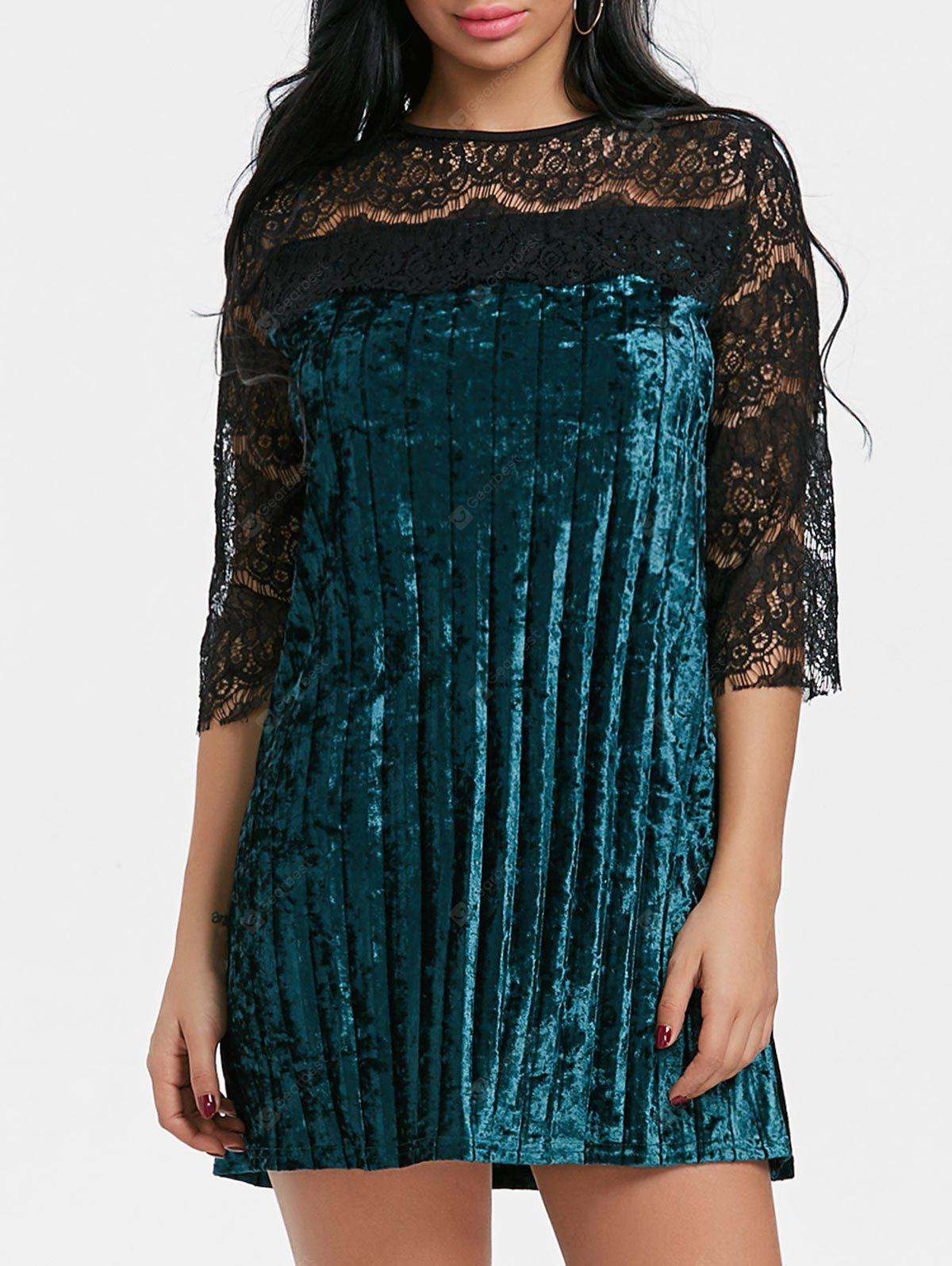 Lace Panel Velvet Pleated Dress