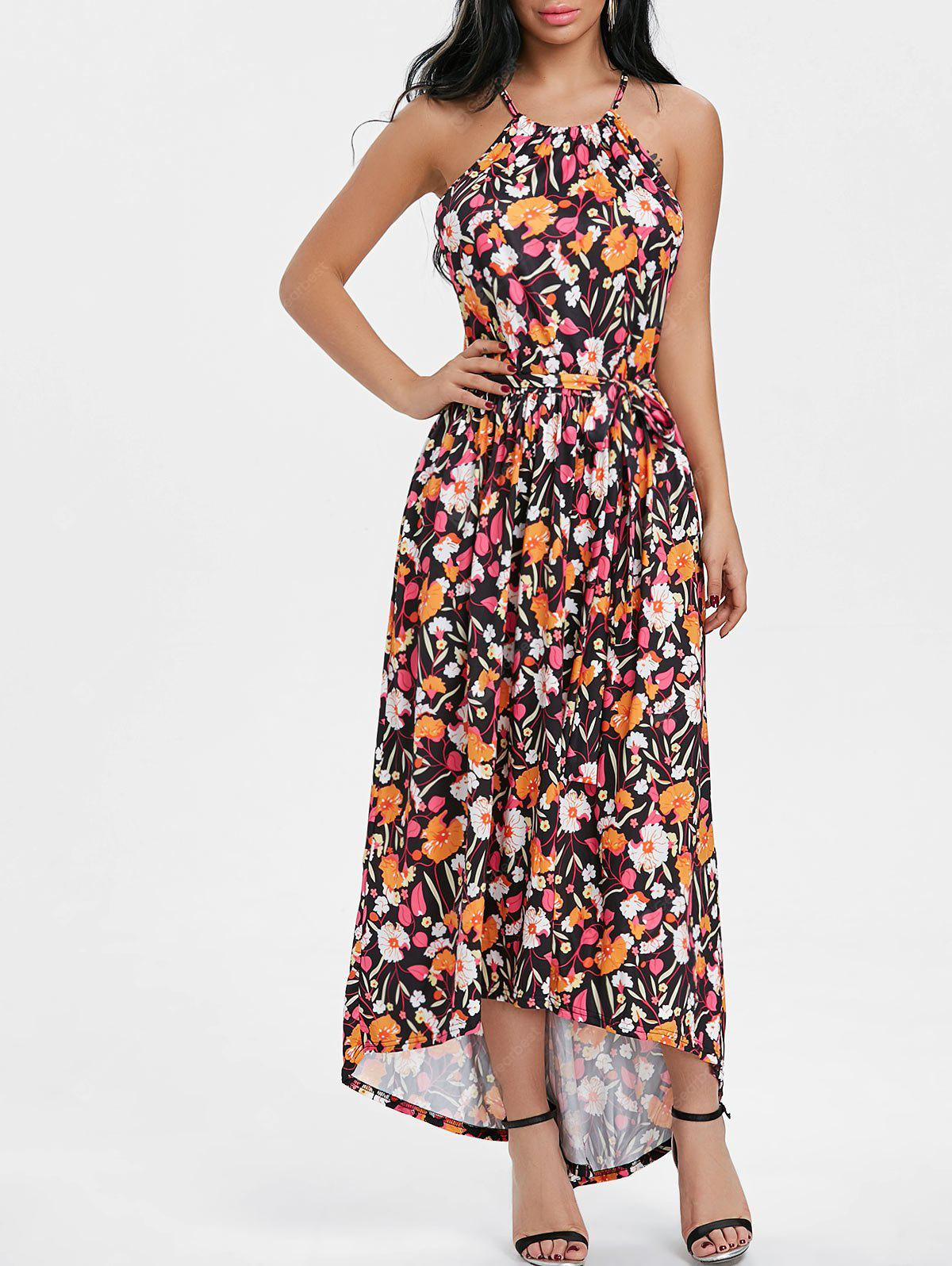 Bohemian Spaghetti Strap Printed Maxi Dress
