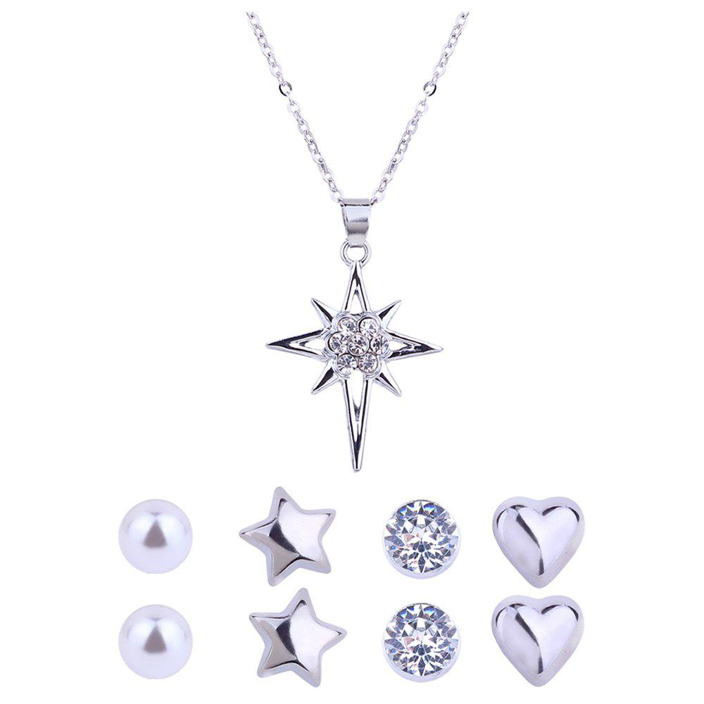 Set di orecchini e collana con stella di diamanti artificiali