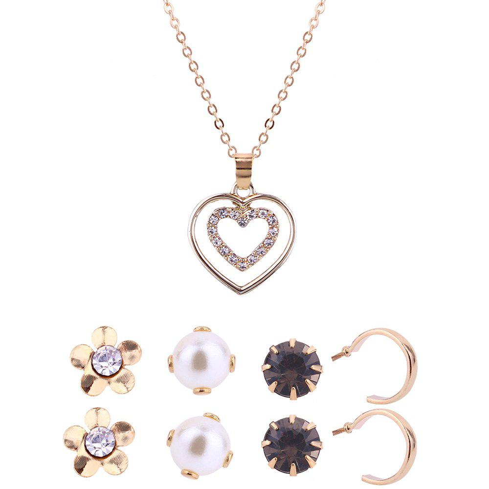 Heart Shape Necklace and Floral Stud Earrings