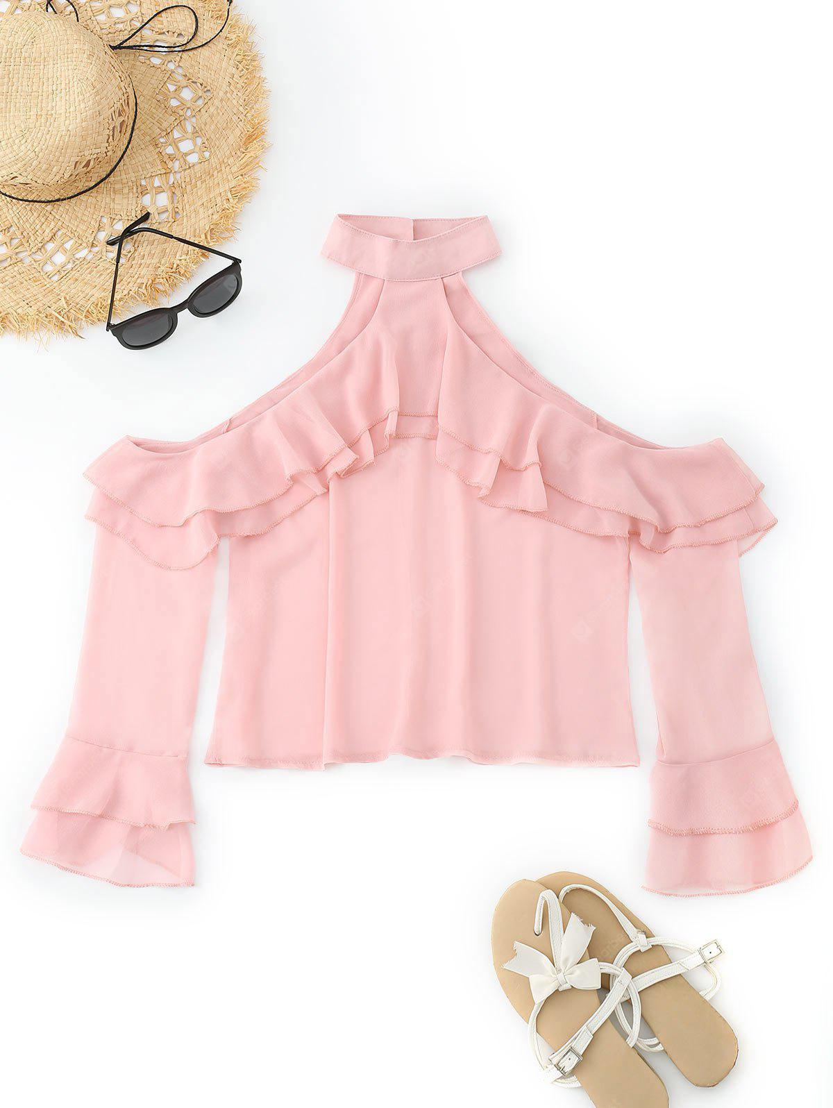 Cold Shoulder Ruffled Tiered Sleeve Blouse S PINK