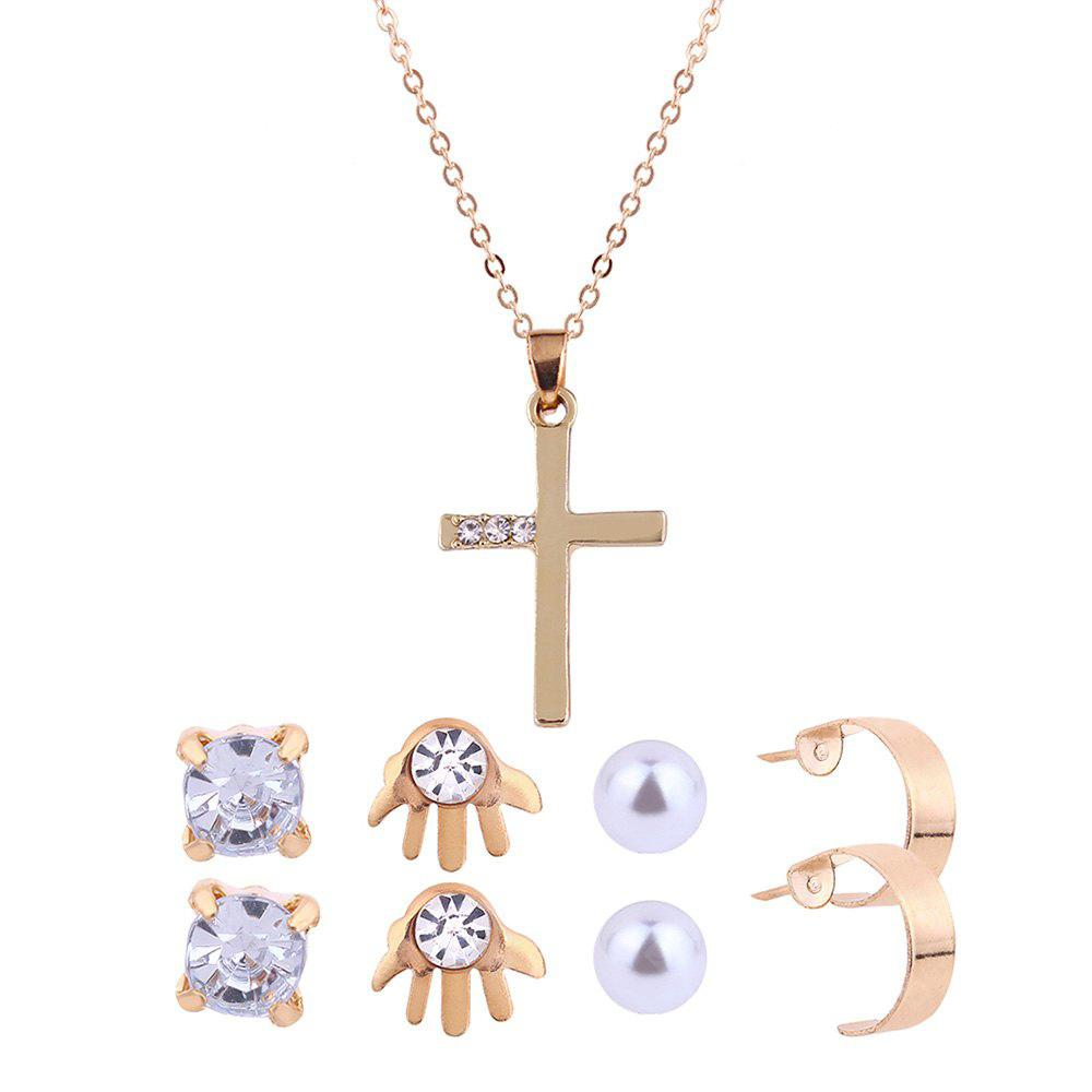 Faux Diamond Inlay Cross Necklace and Stud Earrings