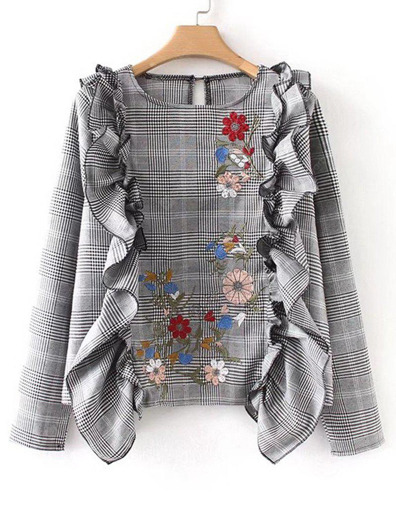 Floral Embroidered Ruffles Plaid Blouse