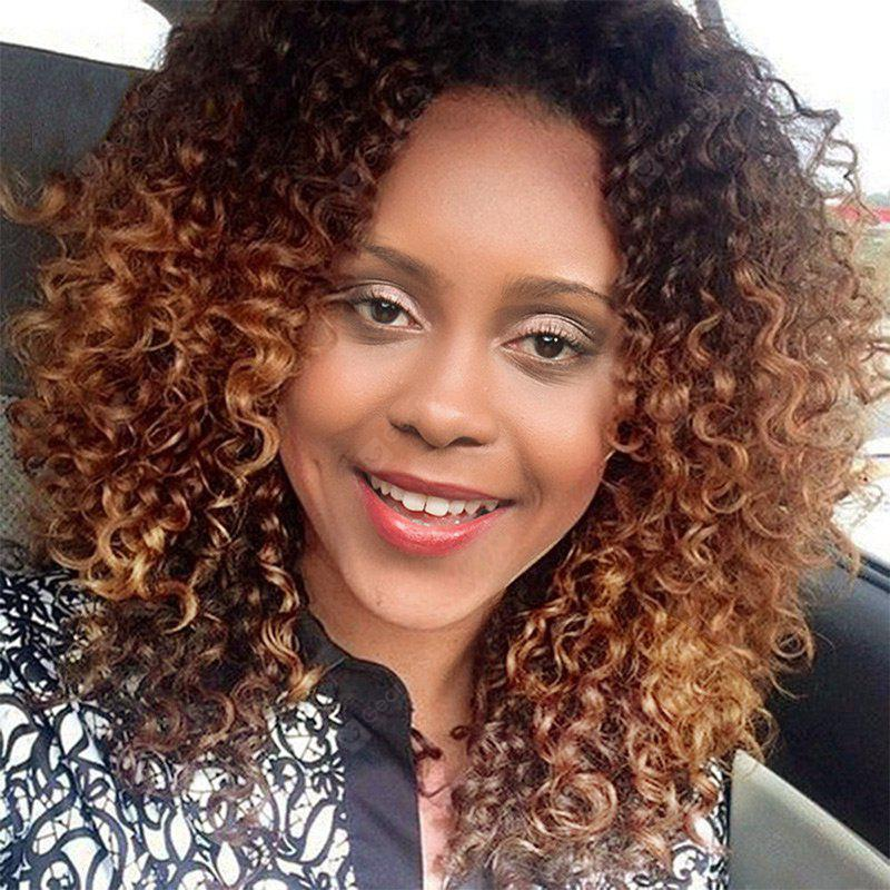 Long Side Bang Ombre Shaggy Afro Kinky Curly Synthetic Wig