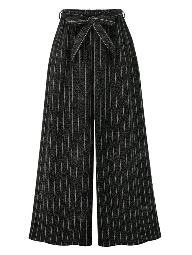 Striped High Rise Wide Leg Pants