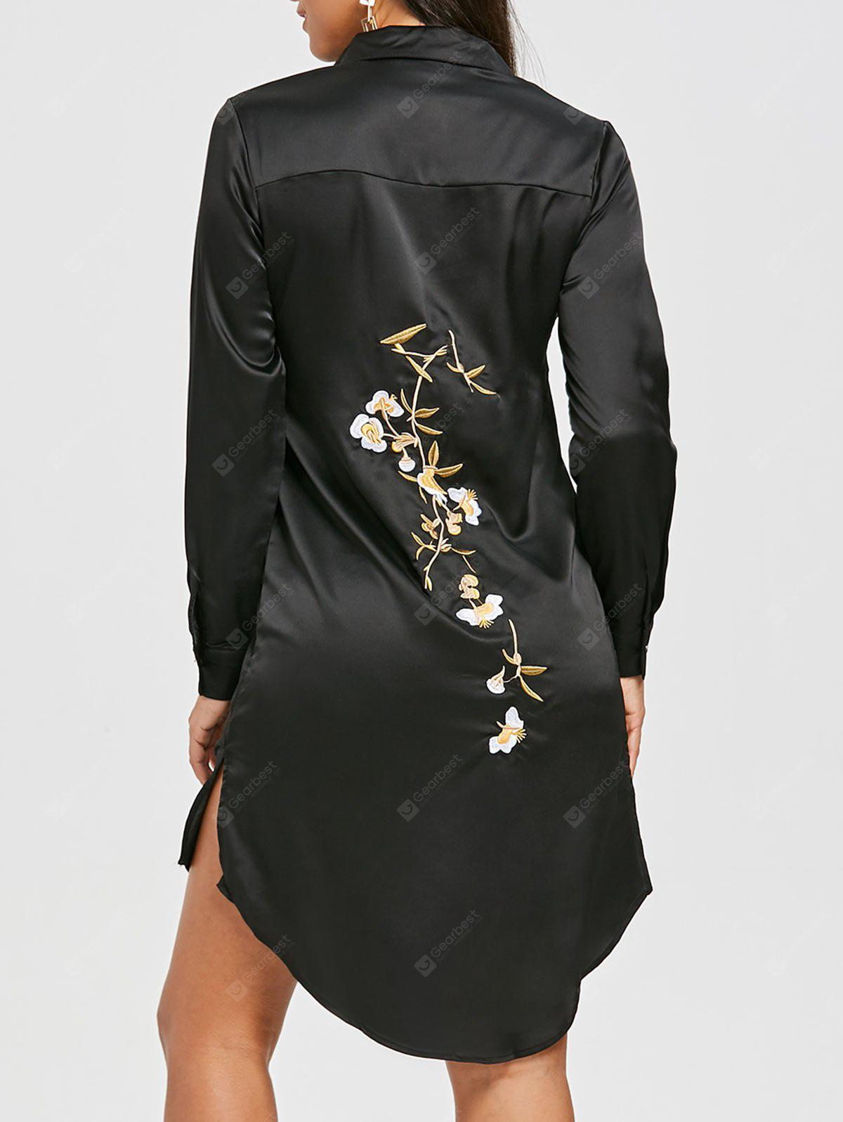 Side Slit High Low Embroidered Shirt Dress