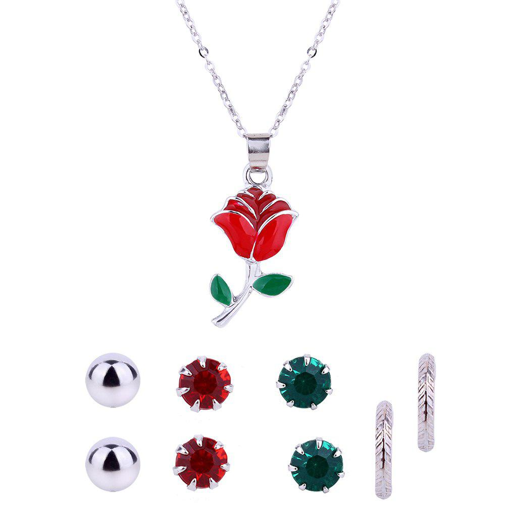 Rose Flower Necklace and Rhinestone Earring Set
