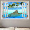 Sea Turtle Swimming Window View Removable Wall Sticker - BLUE