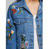 Embroidery Floral Denim Jacket - DENIM BLUE