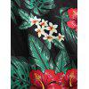 Plus Size Tropical Leaf Hawaii Surplice Dress - BLACK