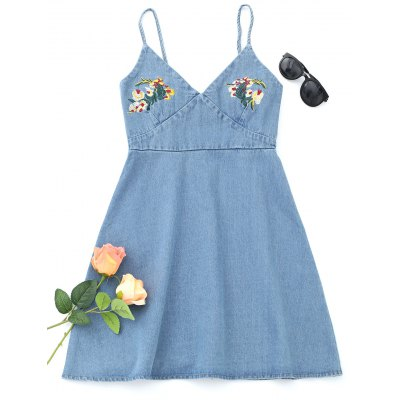 Floral Embroidered Denim Pinafore Mini Dress