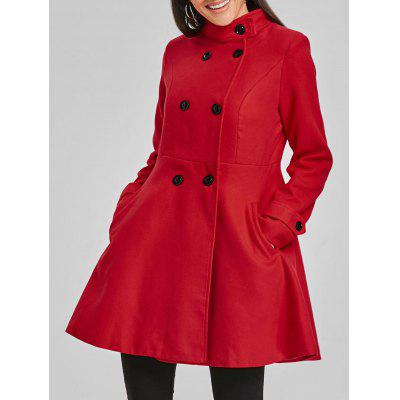 Double Breasted Tunic Wool Skirted Coat