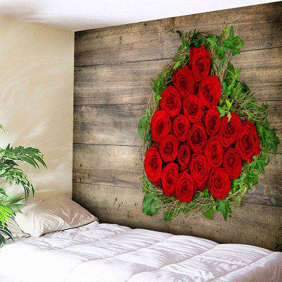 Valentine's Day Roses Wood Grain Wall Tapestry