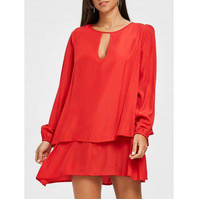 Layered Front Cut Out Long Sleeve Dress