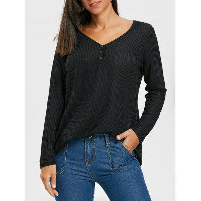 Textured Long Sleeve Top with Button