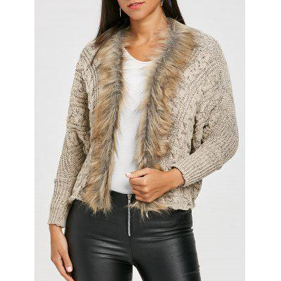 Faux Fur Trimmed Batwing Sleeve Knitted Cardigan