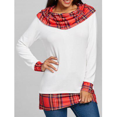 Plaid Insert Cowl Neck Tunic Top