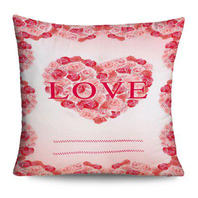Valentine's Day Love Heart Roses Print Pillow Case
